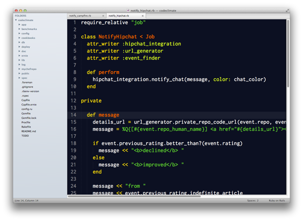 Sublime Text 2 with Soda Light theme editing Ruby